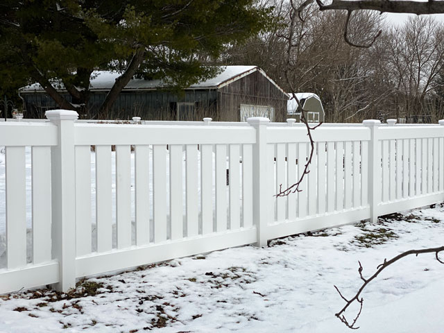 White Vinyl Semi-Privacy Fence installed in Naperville