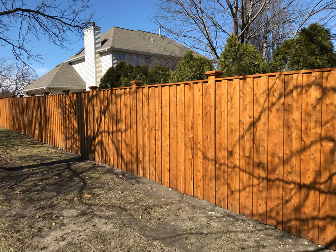 Wood Fence - Privacy Board and Baton Traditional Fence Installation in New Lenox IL