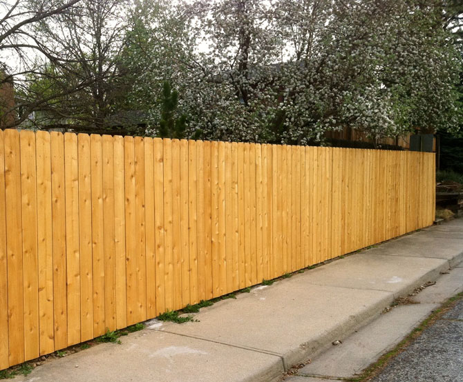 Wood Fence - Privacy Dog Ear Straight Top Fence Installation in Lemont IL