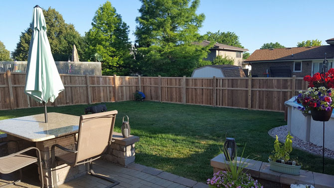 Wood Fence - Privacy Traditional Raised Middle Frame Fence Installation in Mokena IL