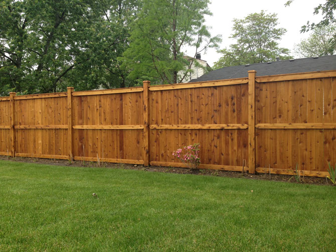 Wood Fence - Privacy Traditional Stained Fence Installation in New Lenox IL