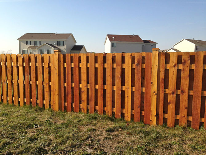 Wood Fence - Shadow Box Straight Top Stained Fence Installation in Lockport IL