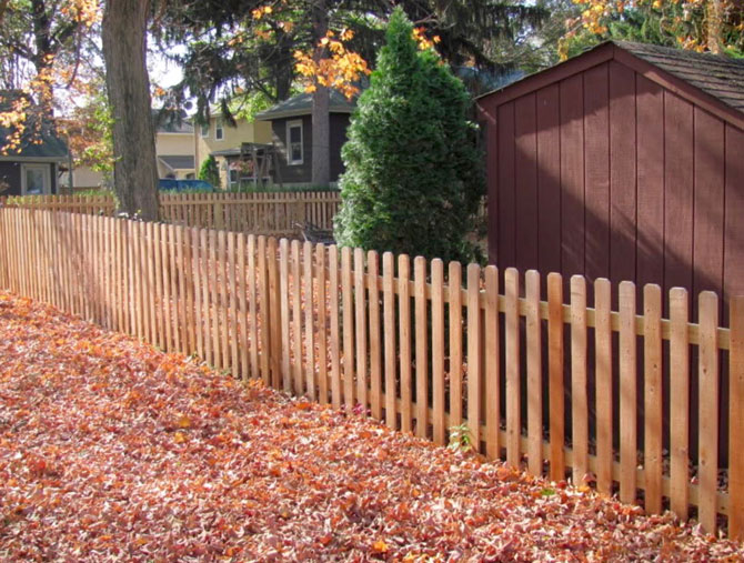Wood Fence - Spaced Picket Straight Top Fence Installation in Lemont IL
